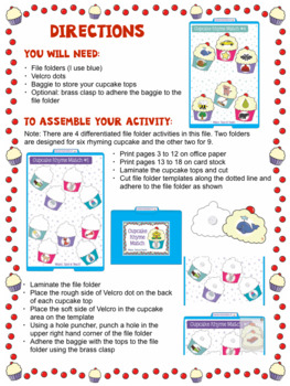 Rhyme- Cupcake Themed File Folder Activities