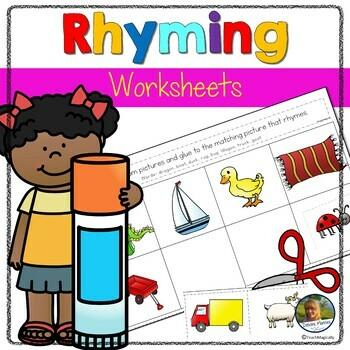 Rhyming Cut and Paste No Prep Worksheets