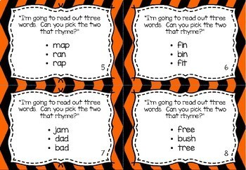 Phonological Awareness Task Cards - Rhyme Detection