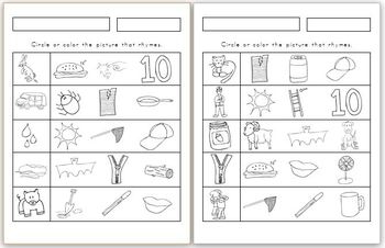 Rhyme Find! 11 pages (2 differentiated versions of each!)
