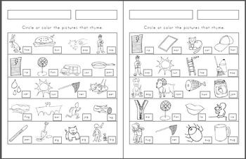 Rhyme Find and Oddity! 11 pages of each (2 differentiated versions per page!)