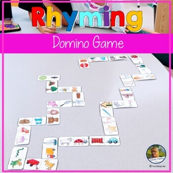 Rhyme Common Core Domino Game and Easy Prep Sheets
