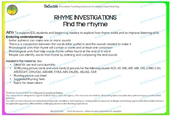 Rhyme Investigations - Find the rhyme