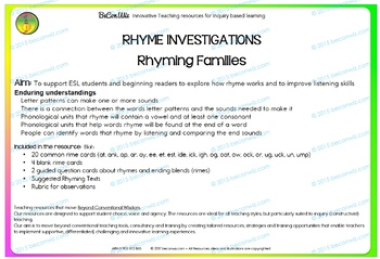 Rhyme Investigations - Rhyming Families
