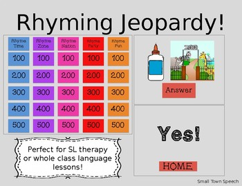 Rhyme Jeopardy! Speech and Language Activity- Whole Class Language Lesson- Game