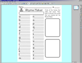 Rhyme Maker worksheet w/ SMARTBOARD display