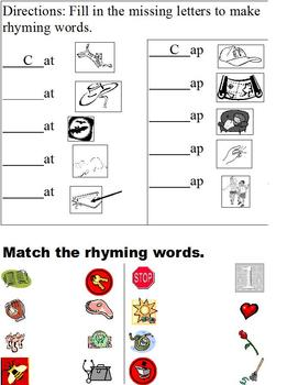 Rhyme Packet; Word Families; Differentiated for Middle School Special Ed