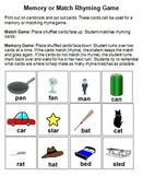 Rhyme Practice Memory/Match Game and Worksheets Common Core RF.K.2a