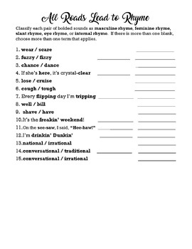 Rhyme Practice Worksheet