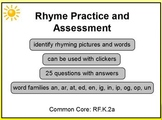 Rhyme Practice and Assessment PreK K 1 Promethean Lesson Common Core RF.K.2a