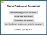 Rhyme Practice and Assessment PreK K 1 SMART Notebook Lesson Common Core RF.K.2a