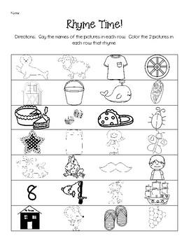 Rhyme Production Skill Sheets - Phonemic Awareness Skills Test - Skill 3
