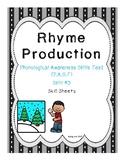 Rhyme Production Skill Sheets - Phonemic Awareness Skills