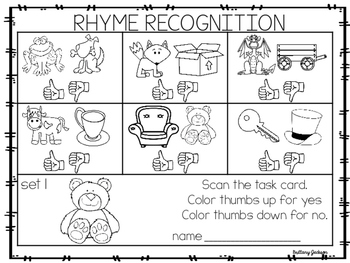 Rhyme Recognition Task Cards with QR Code for Self-Correcting