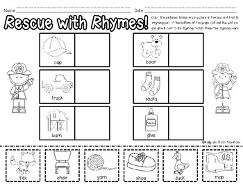 Rhyme & Rescue! {a fire truck rhyming words literacy center}