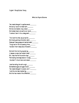 Rhyme Scheme and Rhetorical Devices Worksheet/Study Guide