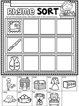 Rhyme Sorts ~ Introductory Phonics and Pre-Reading Skills ~ Printables