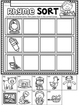 Rhyme Sorts ~ Introductory Phonics and Pre-Reading Skills ~ Rhyming Printables