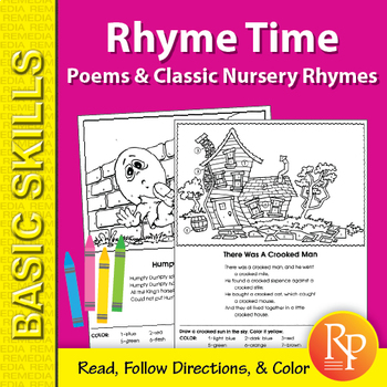 Rhyme Time 1: Poems & Classic Nursery Rhymes Coloring Activities