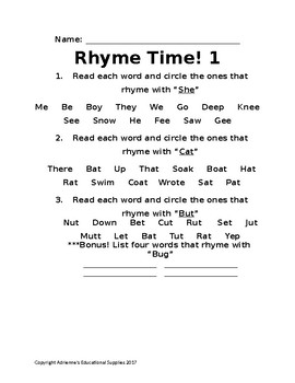 Rhyme Time 1 - PreK, K, 1st, and 2nd Grade