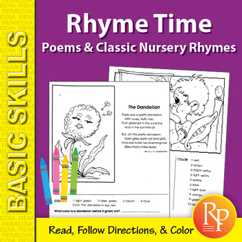 Rhyme Time 2: Poems & Classic Nursery Rhymes Coloring Activities