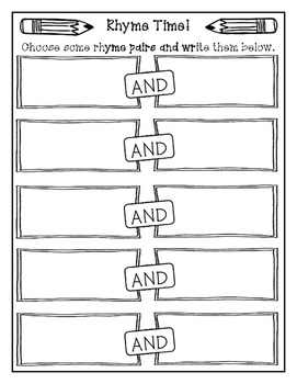 Rhyme Time Activity Sheet