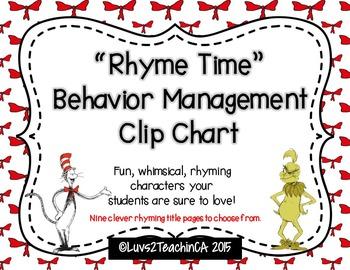 """Rhyme Time"" Behavior Management Clip Chart & MORE"