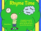 Rhyme Time Booklet for Common Word Families