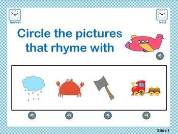 Rhyme Time Flipchart & PowerPoint File - Circle the Pictures Set 2