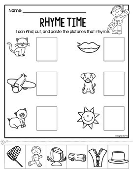 Rhyme Time Cut Paste Worksheets By Regina Berns Tpt