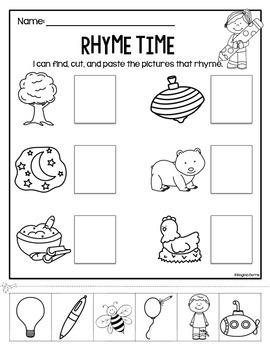 Rhyme Time Cut/Paste Worksheets by Regina Berns | TpT