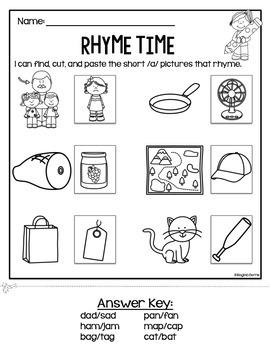 rhyme time cut paste worksheets by regina berns tpt. Black Bedroom Furniture Sets. Home Design Ideas
