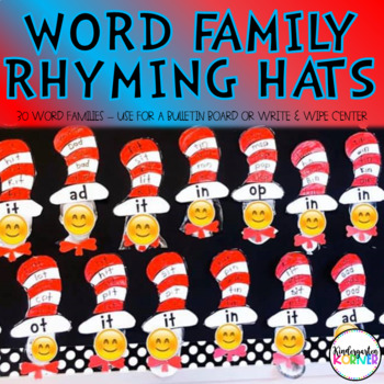 Rhyme Time Dr. Seuss Center Write and Wipe Word Family Hats Kindergarten 1st