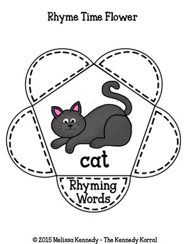 Silly Cat Day Interactive Notebook Rhyming Flowers {Happy Birthday}