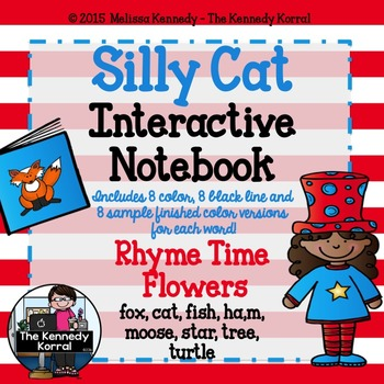 Silly Cat Day Interactive Notebook Rhyming Flowers {Happy