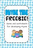 Rhyme Time Game and Worksheet FREEBIE