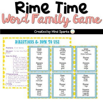 Rhyme Time: Game for Word Families