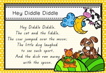 Rhyme Time - Hey Diddle Diddle - Nursery Rhyme Math and Literacy Activity Packet
