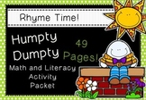 Rhyme Time - Humpty Dumpty - Nursery Rhyme Math and Literacy Activity Packet