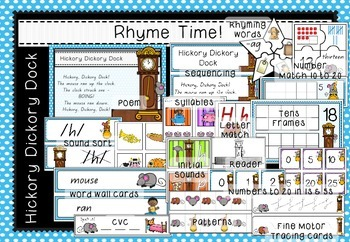 Rhyme Time - Hickory Dickory Dock - Nursery Rhyme Math & Literacy Activities