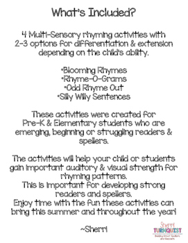 Rhyme Time - Multi-Sensory Rhyming Activities