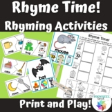 Rhyme Time! Print and Play Rhyming Activities Phonological