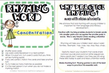 Rhyme Time, Rhyming Center Lessons, Hands-on Activity, RTI, Phonics Word Study