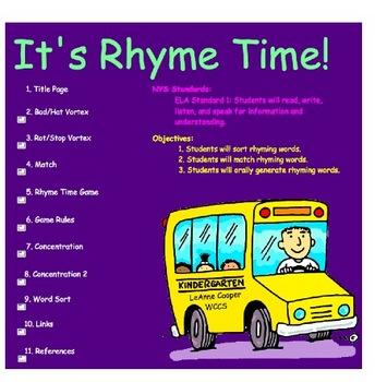 Rhyme Time Smartboard Games