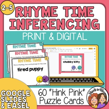 """""""Rhyme Time"""" Task Cards: 60 Hink Pink Puzzles for Fun Vocabulary Development!"""