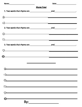 Rhyme Time Template for Poetry