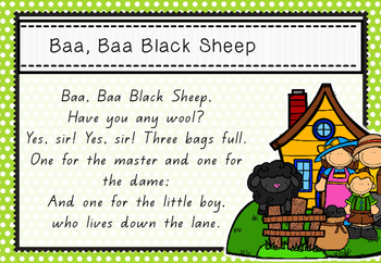 LRhyme Time - Baa Baa Black Sheep - Nursery Rhyme Math & Literacy Act
