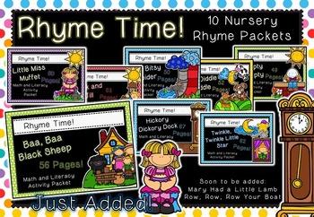 Rhyme Time Bundle - 10 Nursery Rhyme Math & Literacy Activ