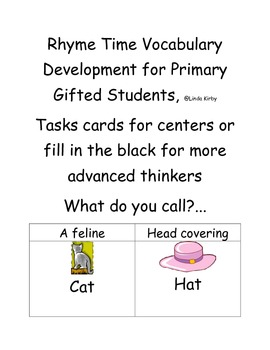 Rhyme Time Vocabulary Development for Gifted Primary Students