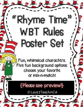 """Rhyme Time"" WBT Rules Posters with Fun Whimsical Theme"